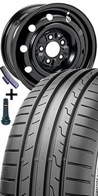 Plech. disk 8247 - 6J x 16 5/112 ET48 57 s pneumatikou Dunlop 205/55 R 16 BLURESPONSE 91V